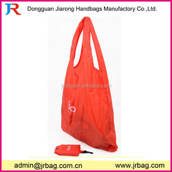 Soft nylon folded shopping bag in pouch,cheap nylon foldable shopping bag