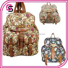 Ladies Designer Retro Owl printing Canvas Backpack Gym Bags