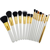 Latest cosmetic instrument for 2015 15pcs white makeup brushes
