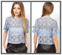 OEM Crop lace Top , women tee clothing made in china (TW0149T)