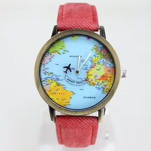 mini world map watch jean fabric kid watch vogue child lady leather watch