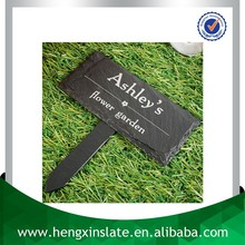 Factory Direct Price Handmade 10.5X7.5cm Decorative Natural Edge Black Oiled Slate Plant Marker With Printed Design