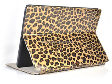 Fashionable leopard for ipad air back cover/PU leather tablet case