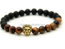 MENS CHEAP TIGER EYE AND MATTE AGATE STONE BEADS BRACELET WITH GOLD LION HEAD