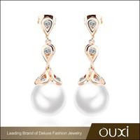 OUXI antique zircon fancy pearl stud peacock design earrings