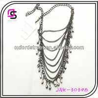 Oxidised Alloy Chain Necklace,Multi-layer Chain Necklace,High Quality Crystal Necklace