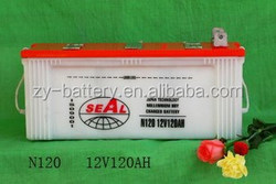 High quality 12V Battery 120AH Dry charged SEAL brand car battery