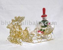 Xmas omament of iron wire deers with sleigh, snowman
