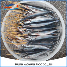 Gutted frozen saury string for BBQ food
