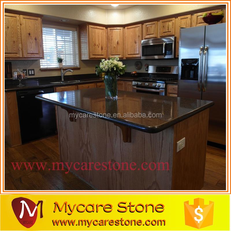 Dark Black Prefab Quartz Stone Island Kitchen Countertop