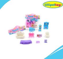 Plastic Mini Toys Doll House Furniture Set for Chirldren Playing