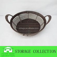 handwoven round plastic storage basket with handle