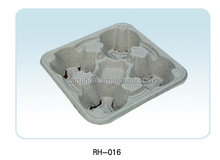 environmental biodegradable molded pulp dinner lap trays with cup holder