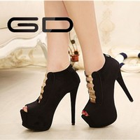 2015 new wholesale cute peep toe brand ladies shoes high heel girls high heels
