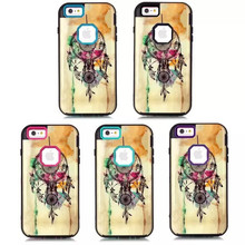 2015 Fashion Dream Catchers Design 3IN1 Hybird Hard PC+TPU Back Skin Cover Cases For iPhone 6/6 Plus,accept Paypal