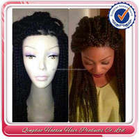 Fashional hot 100% percent brazilian hair full lace front box braid wig