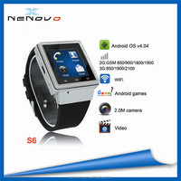 3G Android Watch Smart Phone S6 With Micro SIM Card MTK6577,S6 Android Smart Watch
