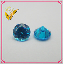 AAAA perfect cutting round shaped aquamarine loose cubic zirconia for jewelry