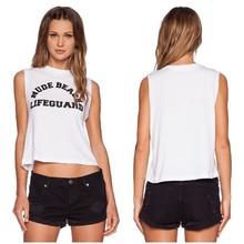 Customilze fashion ladies printed 100%cotton white plain crop tops wholesale
