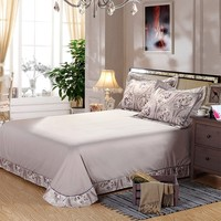 Luxury wholesale price middle or top grade grey hand embroidered bed sheet