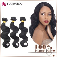 Fabwigs 7a grade natural color in stock virgin brazilian body wave hair weave brazilian hair body wave
