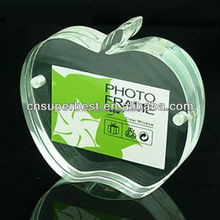 Transparent apple shape acrylic magnet photo frame
