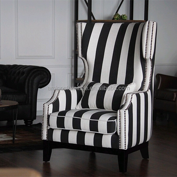 Black White Stripe Fabric Wing Chair Buy Stripe Fabric
