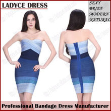 2014 latest dress designs for ladies tube gradient bandage dress for dinner,party,club,cocktail lounge,annual meeting