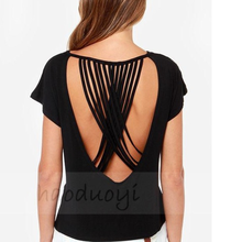MS70348L Western hot selling women blank t-shirts backless solid color t-shirts