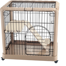 Luxury cat house pet cat cage with wheels indoor cat cage