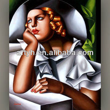 New arrival at window thinking young woman painting
