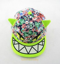 comic teeth monster hat cap Snapback character Red brim adjustable Snapback caps for kids children