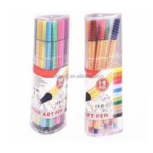 Hot sale white line stripped fine liner pens in PP tube set