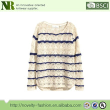 100 Acrylic Sweater Long-sleeved, pattern-knit jumper with a rounded hem