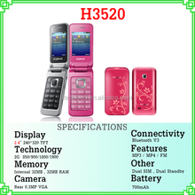 new selling products flip mobile H3520 2.4'' screen dual sim quad band camera hand phone