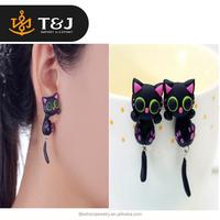2015 New Design Handmade Purple Ear Cute Cat Stud Earring Polymer Clay Cartoon 3D fashion Animal Earrings For Women