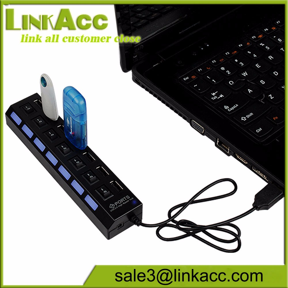 7-Ports USB 2.0 Multi Charger Hub High Speed Adapter ON//OFF Switch Laptop//PC