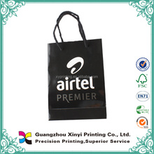 C1S glosry art paper black luxury paper shopper bag with logo