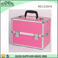 2015 aluminum frame and pink leather cosmetic case