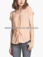 CHEFON Ladies big bow front designer short sleeve blouses CNA0071