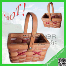 Hot selling natural knitting square wooden basket shower gift basket