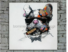 Hand painted modern european style wall art picture living room home decor abstract smoking dog cartoon oil painting