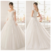 sexy cap sleeve lace ball gown wedding dress for mature bride