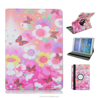 Pink Color Flower Design Rotary Folio Flip Stand PU Leather Cases For Samsung Galaxy Tab A 9.7inch T550 Made in China