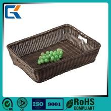 Cheap woven stackable plastic vegetable storage basket