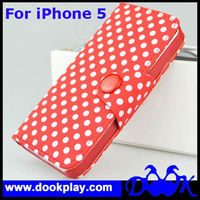 Leather Case For iPhone 5''--Polka Dot Design With Button