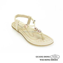 Guangdong manufactory high quality ankle elastic strap design rhinestone thong flat sandals for girls