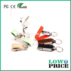 Wholesale 2GB/4GB/8GB swivel USB Flash Drive in leather material with warranty