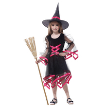 girl witch veil dress halloween costume including the hat for party