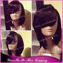Best Quality 6A! 12inch #1b short bob layer cut virgin brazilian lace front wig with side bangs
